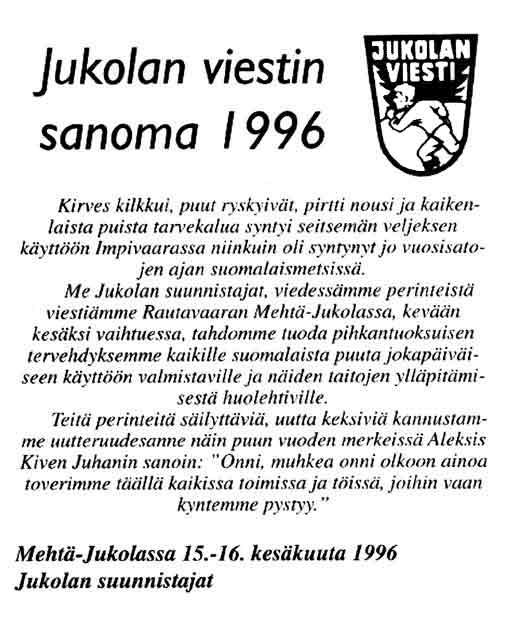 Jukolan viestin sanoma 1996